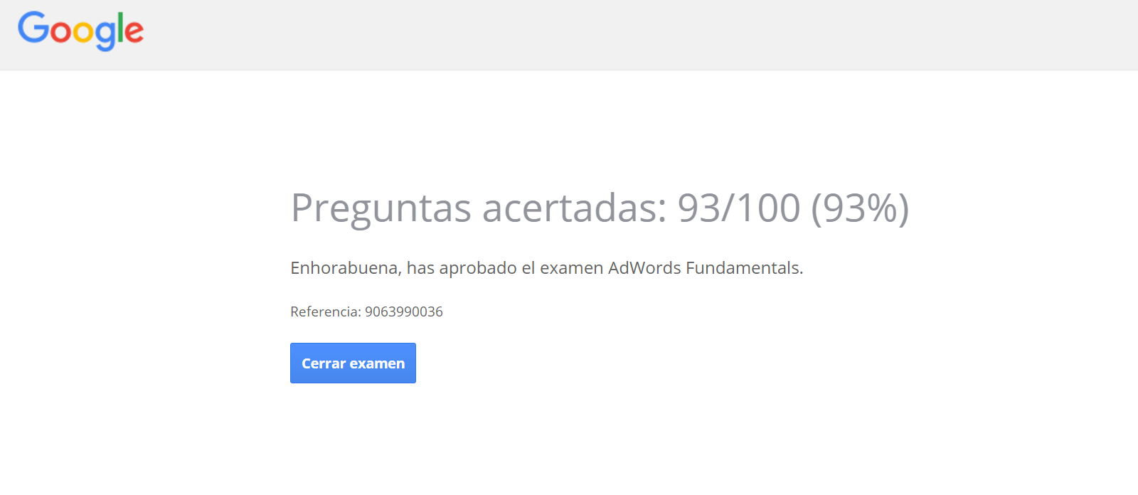 Examen Google Adwords
