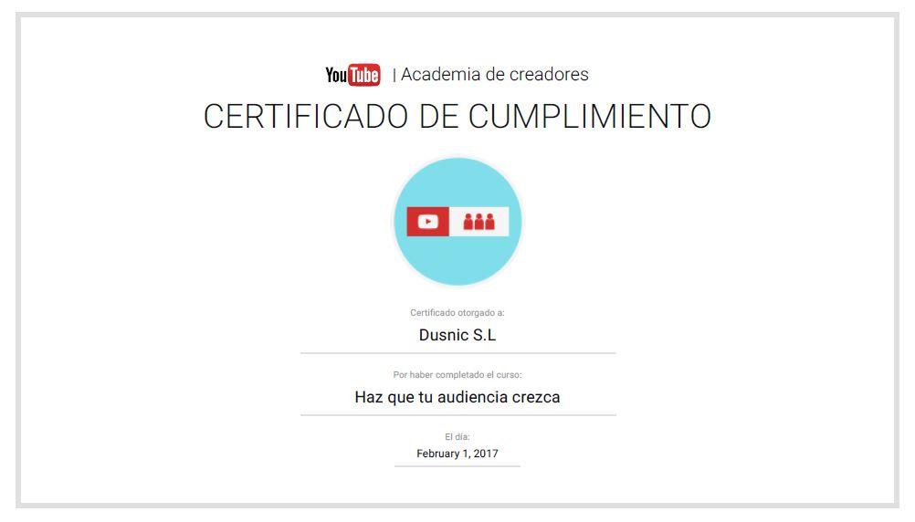 Dusnic obtiene el certificado de cumplimiento de Youtube