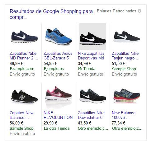 pantallazo de ejemplo google shopping