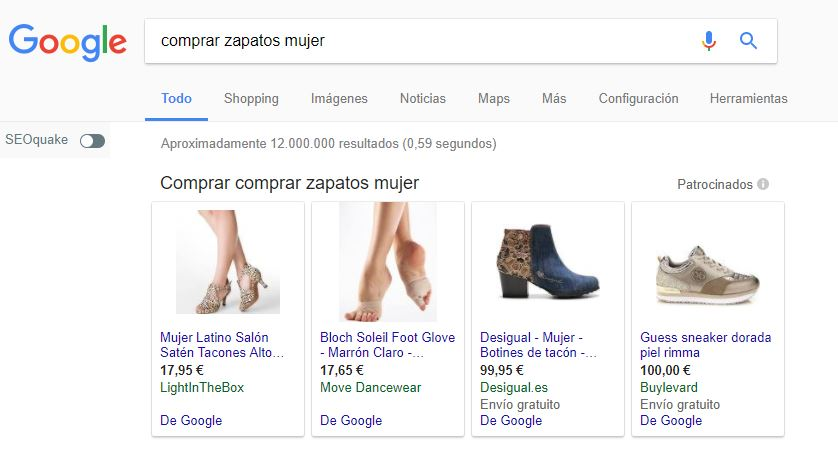 Ejemplo de Google Shopping